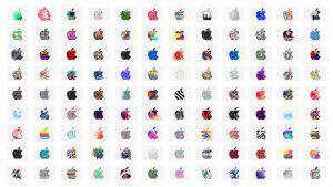 Billede af en masse kreative Apple logoer som Apple har anvendt til deres 30 oktober keynote event