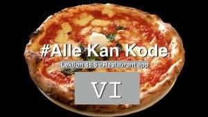 Lektionsbillede der forstiller en pizza med nummer 6 på. Er lektionsbillede til del 6 hvor vi bygger en Just Eat kopi app.