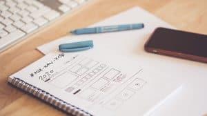 Viser en blok hvor der er designet en brugergrænseflade til en app